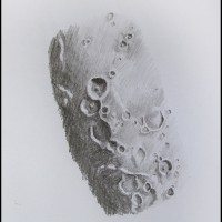 Lunar sketch, By Emma Parfitt, of the Theophilus, Cyrillus and Catharine crater chain .